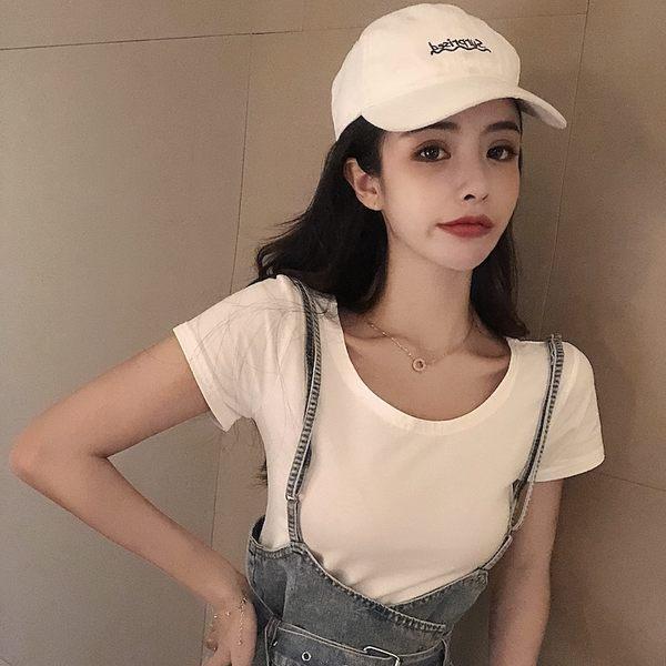 梨卡★現貨 - 韓版甜美純色百搭圓領短袖T恤素色短T BR299