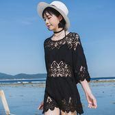 韓國海邊沙灘泳衣外套防曬衣女蕾絲銹花針織衫比基尼中長款罩衫裙