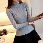 打底針織衫 秋冬新款女裝韓版半高領毛衣女套頭加厚長袖針織衫修身緊身打底衫【芭蕾朵朵】