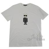 茱麗葉精品【全新現貨】KARL LAGERFELD 卡爾 老佛爺印花造型棉質短T恤.白
