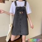 夏季新款韓版復古寬鬆顯瘦學生洋氣減齡刺繡牛仔背帶連衣裙女 快速出貨