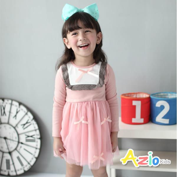 《美國派 童裝》洋裝 配色方領蝴蝶結網紗長袖洋裝(粉)