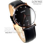 LOVME 城市簡約風 晶鑽時刻腕錶 男錶/中性錶/女錶 玫瑰金x黑 皮革錶帶 VL1012B-43-341