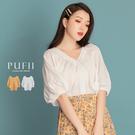 PUFII-襯衫 V領泡泡飛鼠袖短袖襯衫- 0423 現+預 春【CP18390】