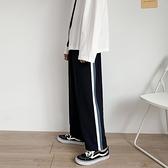 運動褲褲子男韓版寬鬆休閒褲側邊藍白條運動褲夏季港風ins墜感直筒長褲 JUST M