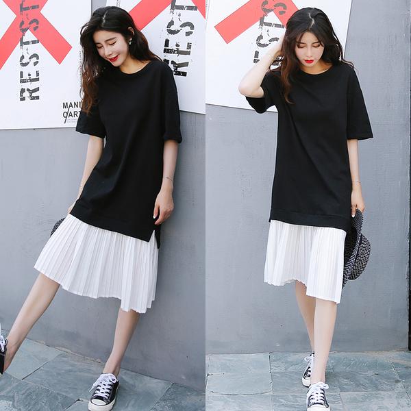 出清288 韓國風休閒寬鬆百褶雪紡拼接短袖洋裝