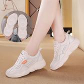 女休閒運動鞋 韓版女鞋子 新款平底休閒內增高單鞋休閒鞋【多多鞋包店】ds4822