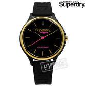 Superdry 極度乾燥 / SYL151BG / 潮流品牌 亮眼撞色 日本機芯 舒適矽膠手錶 黑x金框 37mm