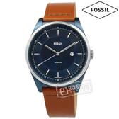 FOSSIL / FS5422 / Mathis 復古美學紳士型男日期防水真皮手錶 藍x咖啡 44mm