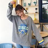EASON SHOP(GU7670)實拍英文字母卡通圖印花撞色條紋圓領長袖T恤女上衣服落肩寬鬆顯瘦短版內搭衫棉T