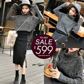 克妹Ke-Mei【ZT56713】Wow摩登注目開叉拉鍊毛衣長裙+毛衣套裝
