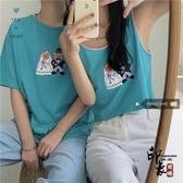 可可愛愛度假韓系趣味小熊印花情侶款背心T恤/短袖T恤