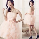 美之札[M-302-S]中大尺碼*抹胸玫瑰繡片腰部蝴蝶結泡泡紗裙小禮服(內附胸墊)~美之札