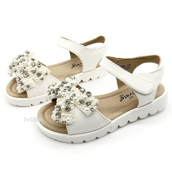 《7+1童鞋》專櫃款 普萊米 PRIVATE 蝴蝶珍珠鑽飾 公主涼鞋 E150 白色
