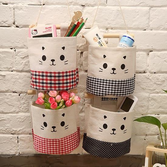 棉麻自由組合收納掛袋(單入) 懸掛 雜貨 置物 帆布 壁掛式 廚房 牆掛式 門後 臥室【N67】♚MY COLOR♚