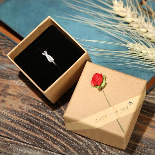 【BlueCat】Just for you玫瑰花牛皮紙飾品盒 禮品紙盒 (5.5*5.5*3.7cm)