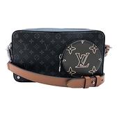 【台中米蘭站】全新品 Louis Vuitton Volga On Strap撞色拼接口袋隨身信差包(M69688-黑)