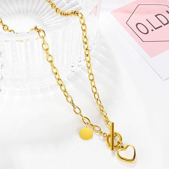 《QBOX 》FASHION 飾品【C20N1795】精緻秀氣簡約愛心OT扣環玫瑰金鈦鋼墬子項鍊