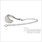 apm MONACO COURCHEVEL系列晶鑽鑲飾曲面設計鏈條純單只銀耳骨扣(銀)