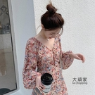 碎花洋裝 A字裙 2021年早春裝新款長款雪紡洋裝子桔梗初戀法式復古超仙女碎花裙