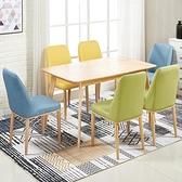 新品北歐風椅子簡約現代家用餐椅餐廳酒店靠背凳子布藝化妝書桌椅艾莎