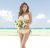 梨卡 - 泳裝二件式比基尼[有鋼圈+美胸+顯瘦+集中]女人我最大 蕾絲造型綁帶C459