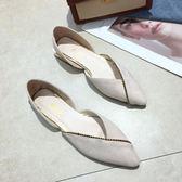尖頭單鞋女新款春季韓版百搭淺口粗跟豆豆鞋仙女低跟瓢鞋 完美情人