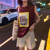 韓版休閒印花寬鬆背心女上衣無袖T恤