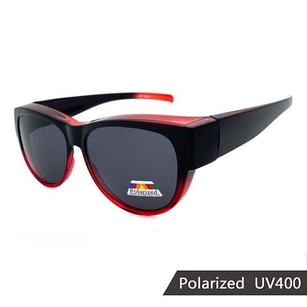 【南紡購物中心】【SUNS】MIT漸層紅偏光套鏡 時尚酷炫 僅20克超輕量免脫眼鏡太陽眼鏡 抗UV400
