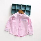氣質英倫風 男童馬卡龍立領開扣襯衫.袖可反折 粉色~EMMA商城