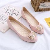 豆豆鞋平底鞋女2018圓頭淺口豆豆鞋女中跟內增高女鞋坡跟春季單鞋女 曼莎時尚