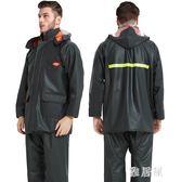 千里雨防水外賣加厚防水騎行成人分體式牛筋雨衣雨褲套裝男士外套TA4907【喵可可】
