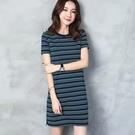 加大尺碼圓領條紋連身裙女夏2020新款寬鬆顯瘦中長款短袖A字裙子女 降價兩天