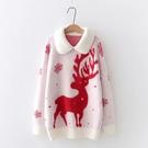 *ORead*小清新拼接羊羔絨卡通聖誕針織加厚毛衣(3色F碼)