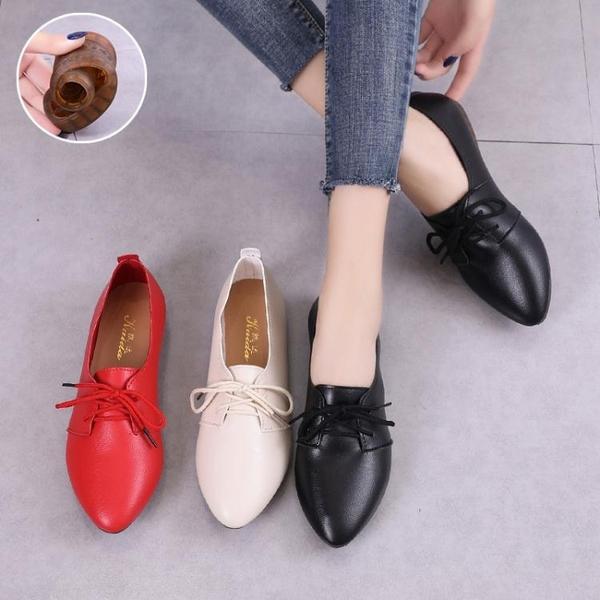 豆豆鞋牛筋軟底平底鞋豆豆鞋女2021秋季新款鞋子百搭單鞋女鞋尖頭小白鞋 雲朵