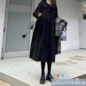 秋冬新款孕婦洋裝燈芯絨娃娃領復古港風燈籠袖過膝中長款顯瘦裙 快速出貨