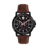 【Ferrari 法拉利】賽車極勁特殊面盤設計真皮質感腕錶-深棕款/FA0830452/台灣總代理享兩年保固