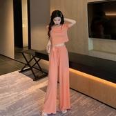 網紅穿搭套裝洋氣減齡韓版夏短袖T恤運動長褲墜感寬管褲兩件套女 滿天星
