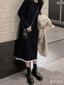 針織洋裝 赫本風小黑裙女秋冬新款法式溫柔風毛衣裙過膝內搭針織連衣裙長款 新年禮物