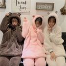 VK精品服飾 韓國風加厚珊瑚絨情侶毛茸茸套裝長袖褲裝