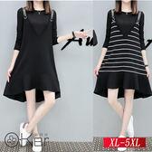 簡單日系圓領上衣+A字吊帶裙 XL-5XL O-Ker歐珂兒 153061-C