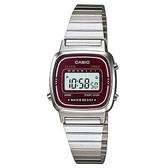 CASIO 時尚質感優雅不鏽鋼電子腕錶-咖啡紅面(LA-670WA-4)