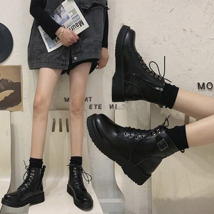 馬丁靴 馬丁靴女英倫風2020年新款百搭秋冬加絨女鞋瘦瘦短靴子潮ins【快速出貨】