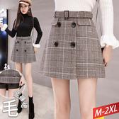 格紋黑四釦褲裙+腰帶(2色) M~2XL【982764W】【現+預】☆流行前線☆