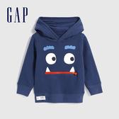 Gap男幼童 三維立體趣味圖案連帽休閒上衣 619741-藏藍色