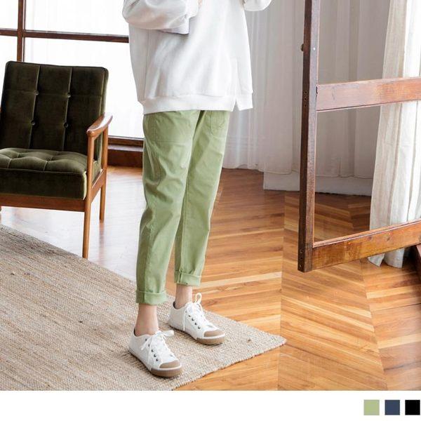 《BA3637-》點點拼色斜口袋設計寬褲 OB嚴選