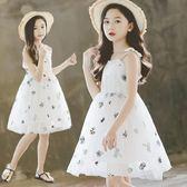 兒童裝連身裙夏季新款女童吊帶公主裙小女孩刺繡洋氣蓬蓬紗裙歐歐流行館