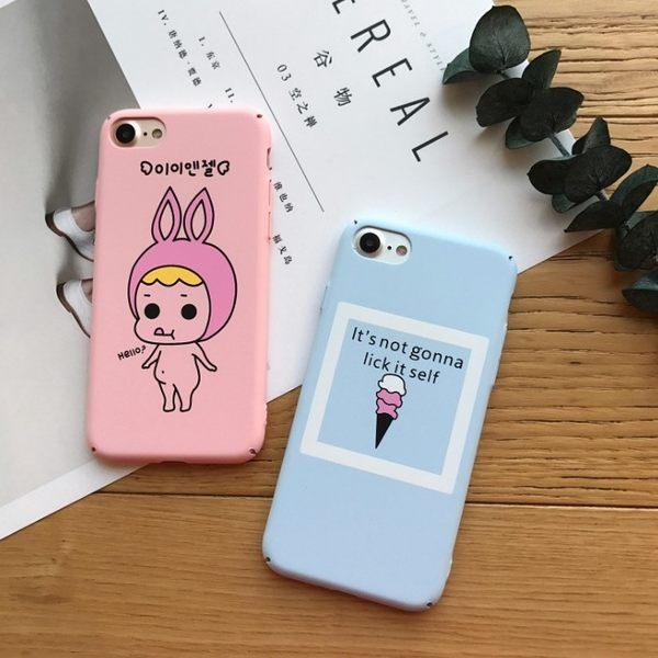 [24hr-現貨快出] 可愛卡通蘋果7手機殼磨砂iPhone6s plus保護套日韓女款全包硬殼潮