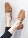 方頭奶奶鞋女2020春季新款韓版百搭學生粗跟中跟小皮鞋網紅單鞋子『潮流世家』