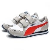 PUMA CABANA RACER SL V PS 白灰 藍橘 皮革 魔鬼氈 運動鞋 中童 (布魯克林) 36073276